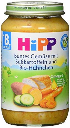 Preisvergleich Produktbild Hipp Buntes Gemüse mit Süßkartoffeln und Bio-Hühnchen,  6er Pack (6 x 220 g) - Bio