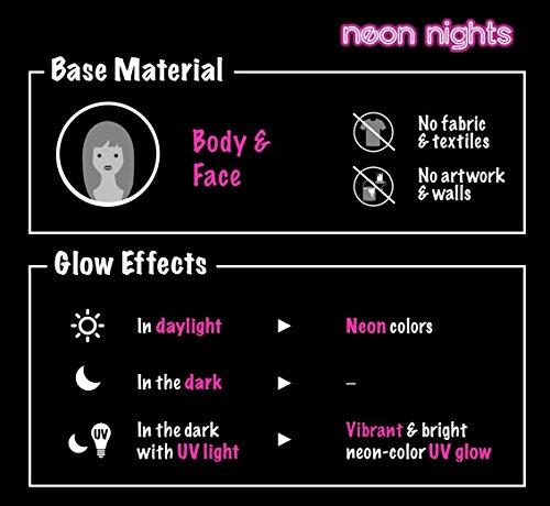 neon nights UV-Licht Bodypainting Schminke | Schwarzlicht-Körperfarbe für Body und Facepainting | Fluoreszierende Farben im Schminkset für knalligen Glow-Effekt | 8 x 20ml Leucht-Farben - 5