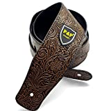 Adjustable Guitar strap - Snakeskin Texture Leather Strap for Electric Acoustic Guitar Bass (arancio)