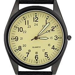 Orkina Black Case Light Yellow Dial Nylon Canvas Strap Fashion Wrist Watch P104IPBLW