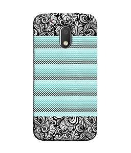 PrintVisa Printed Floral Zigzag 3D Hard Polycarbonate Designer Back Case Cover for Moto G Play (4th Gen) :: Motorola Moto G4 Play