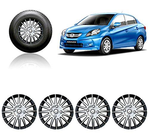 Auto Pearl - Premium Quality Car Full Wheel Cover Caps Silver and Black 14 Inches For - Honda Amaze