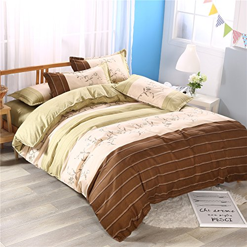 Zhiyuan Blume Farbe Patchwork burshed Mikrofaser Bettbezug Bettlaken und Kissenbezüge Set, Coffee & Green Yellow, Twin