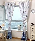 Cortinas semiopacas estampadas para habitación infantil, diseño de estrellas y lunas, 2 piezas, de Yiyida, tela, azul, 1.4mx2.4m