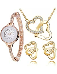 Addic Perfect Gift Rose Gold Watch & Hearts In Love Pendant Earring Set Combo (Perfect For Valentine's Gift/Anniversary...