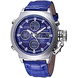 BOAMIGO Luminous Alarm Date Week 50M Waterproof Quartz Digital Mens Watch (Blue)