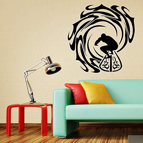 Adesivo arte della parete del vinile Surf mare sport Adesivo piscina rimovibile arte della parete murale Sport Surfer e onde Decor 57x59CM