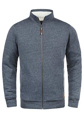 BLEND Tedox Herren Sweatjacke Zip-Jacke mit Teddyfutter und Stehkragen aus hochwertiger Baumwollmischung Meliert, Größe:L, Farbe:Navy (70230) (Sweater Zip)