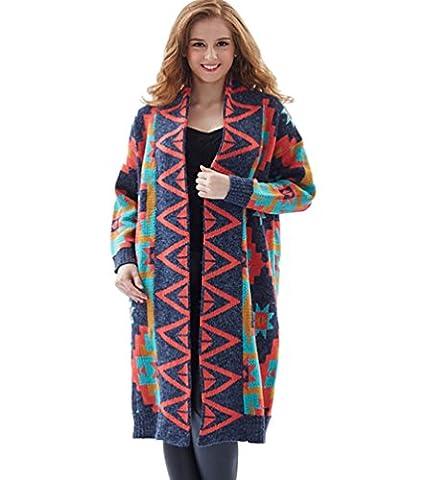 ZKOO Women National Style Pattern Long Cardigan Loose V Collar Knitwear Sweater Coat