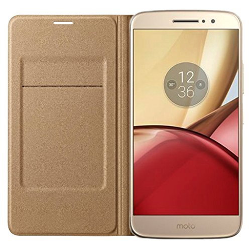 eCosmos || MOTO M || Flip Cover Premium Impact Resistant [1 Card Slot][Cash/Bills Slot][Anti-Slip Design][Drop Protection][Ultra Slim] Leather Flip Cover For MOTO M - Gold  available at amazon for Rs.249