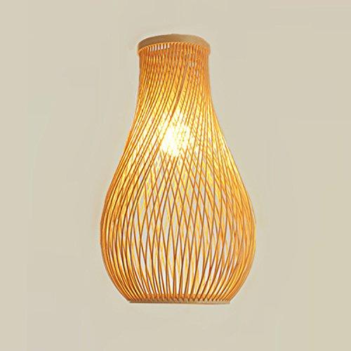 LINA-Lampadario di bambù mano-tessuto semplice soggiorno (18 * 36cm)