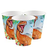 starbakery Tisch Dekoration Becher Dinosaurier Geburtstag 8 Stück, 255 ml, Mehrfarbig