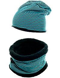 Winter-Set aus Baumwolle für Kinder. Wärmendes Set aus kurzem LOOP Schal mit Teddy Fleece und passender Beanie Mütze
