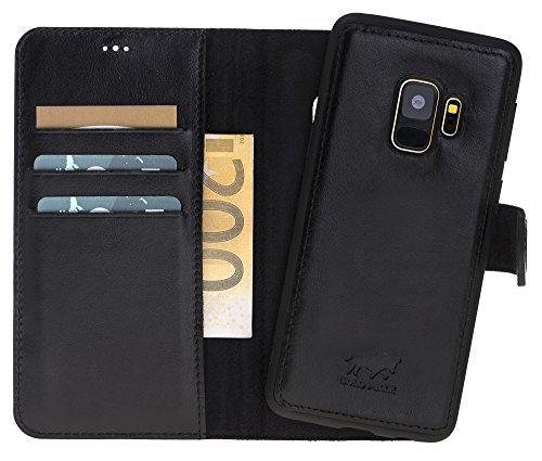 Preisvergleich Produktbild Solo Pelle Samsung Galaxy S9 unzerbrechliche / abnehmbare Lederhülle (2in1) inkl. Kartenfächer für Das original Samsung Galaxy S 9 (Schwarz) inkl. Edler Geschenkverpackung