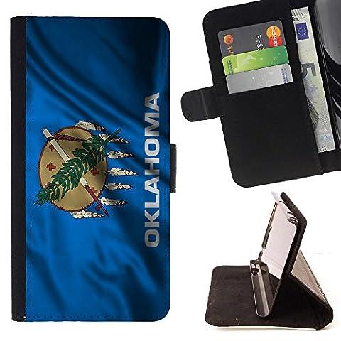 FJCases Oklahoma The Sooner State Wehende Flagge Tasche Brieftasche Hülle Schale Standfunktion Schutzhülle für Samsung Galaxy Core Prime