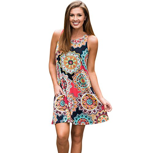 (Damen Kleid Hot! Yesmile Frauen Damen Vintage Bohemian Sommer Vintage Boho Maxi Abend Party Strand Blumenkleid Tunikakleid Bluse Strandkleid Minikleid (2XL, Mehrfarbig))