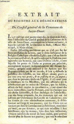 EXTRAIT DU REGISTRE AUX DELIBERATIONS DU CONSEIL GENERAL DE LA COMMUNE DE SAINT-OMER