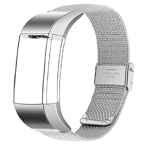 Huishang accessori della fascia del braccialetto Wristband con fibbia in acciaio inox per le fasce Fitbit Charge 2 sport di frequenza cardiaca fitness inseguitore SmartWatch (Metal Silver Mesh)