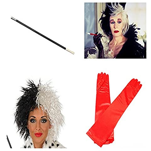 Cruella Deville pour déguisement Perruque longue Rouge-Kit1–Gants