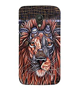 Animated Lion 3D Hard Polycarbonate Designer Back Case Cover for Motorola Moto G2 X1068 :: Motorola Moto G (2nd Gen)