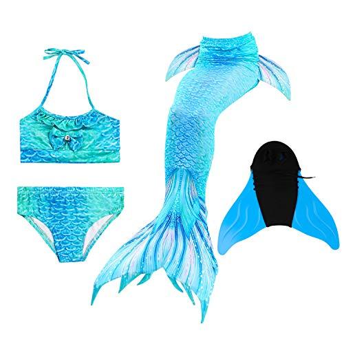 Mädchen Meerjungfrau Schwanz Badeanzug - Bikini Set Mermaid Prinzessin Kostüm Cosplay Bademode Schwimmbare für Kinder Schwimmen mit Bikini Set und Monoflosse, 4 Stück - Mermaid Schwanz Kostüm