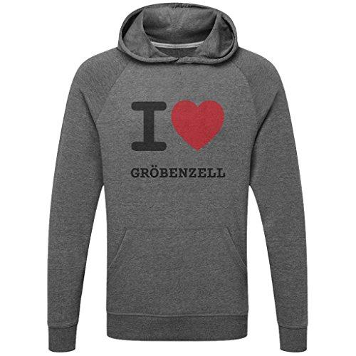 JOllify GRÖBENZELL Funktions Pullover Hoodie mit hochwertigem Druck für Sport und Freizeit - Größe: L - Farbe: grau charcoal