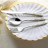 Cuchillo y tenedor occidentales de acero inoxidable para el hogar comer cuchillo de bistec y tenedor cuchara juego de cubiertos de tres piezas de oro