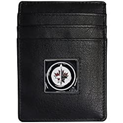 NHL Winnipeg Jets Leather Money Clip/Cardholder Packaged in Gift Box, Black