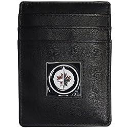 NHL Winnipeg Jets Leather Money Clip/Cardholder Packaged in Gift Box, Black