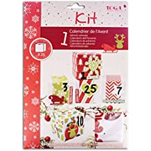 Toga KRN20 Kit de 25 Boîtes calendrier de l'Avent Papier Rouge/Vert/Blanc 5,5 x 5,5 x 5,5 cm