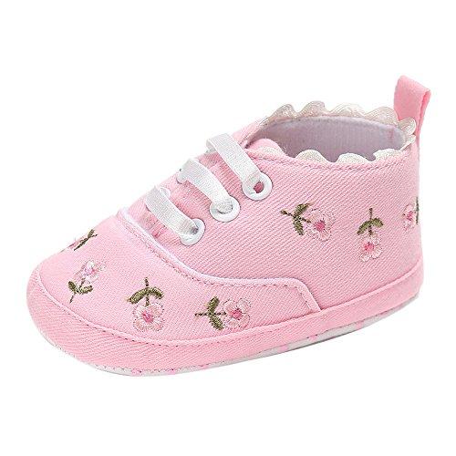Moginp Lauflernschuhe Neugeborenes Baby Mädchen Blumen Krippe Schuhe Weiche Sohle Rutschfeste Turnschuhe Canvas Krabbelschuhe Pink,6-12 Monate -