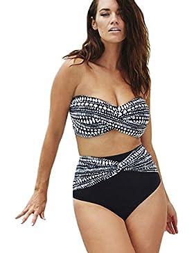 Nuovo Ladies Monochrome Spotted vita alta bikini Swimsuit 2PCS costumi da bagno Beachwear estate taglia XL UK...