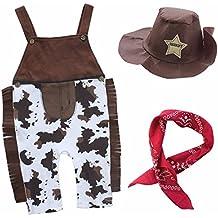 Bebés 3pcs Conjuntos Del Vaquero Tirantes +Trajes De Sombrero+El Pañuelo Conjuntos Disfraz cosplay SZ 6-24 Meses