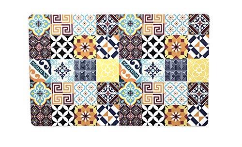 De'Carpet Alfombra Textil Suelo Baldosa Hidráulica Original Moderna Lavable Multicolor Collage 50x80cm...