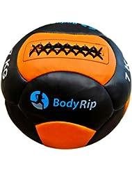 BodyRip 35,56 cm balones medicinales - cuero negro/naranja, 7 kg
