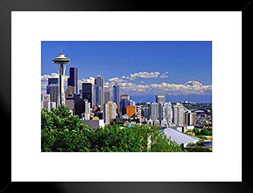 Poster Skyline Von Seattle (Poster Gießerei Seattle Washington Skyline mit Space Needle Foto Kunstdruck von proframes 26x20 inches Matted Framed Poster)