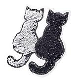 non-brand Sharplace Stickerei Katze Patches Applikation Aufnäher Deko für Geldbörsen, Taschen, Jeans, Schürzen, Mützen, T - Shirts, Klamotten - Schwarz, 19 x 22,5 cm