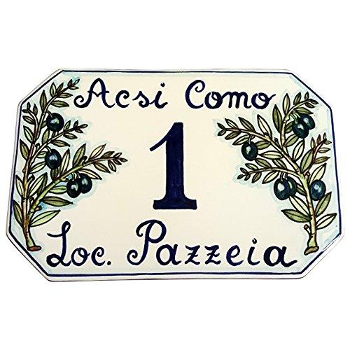 Numeri Civici In Ceramica.Ceramiche D Arte Parrini Ceramica Italiana Artistica Numero Civico In Ceramica 23x15 Personalizzato Decorazione Olive Dipinto A Mano Made In