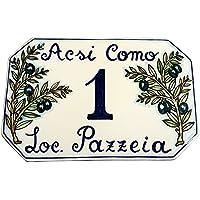 CERAMICHE D'ARTE PARRINI- Ceramica italiana artistica, numero civico in ceramica 23x15 personalizzato, decorazione olive, dipinto a mano, made in ITALY Toscana