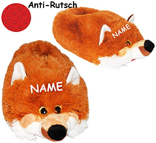 alles-meine.de GmbH Hausschuhe / Pantoffel -  Fuchs  - incl. Name - Größe Gr. 36 - 37 - 38 - 39 - 40 - 41 __ schön warm __ Plüschhausschuh / Tier - Tiere - für Kinder & Erwachs..