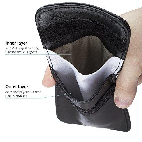 Sac de Blocage anti RFID Protection Étui Housse Noir pour Clés Keyless Go de Moozy® - Keyless Protection Anti Onde Bloqueur Signal GSM RFID Blocker