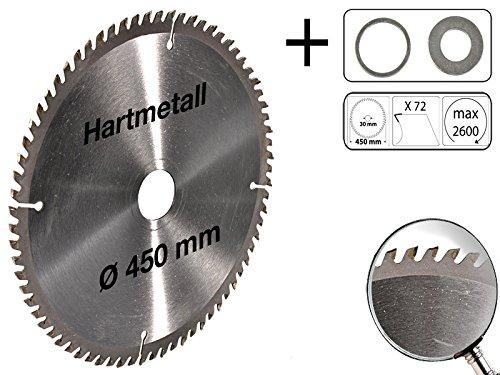 MS-Warenvertrieb - Hoja de sierra circular (450 x 30 mm, 72 dientes, metal duro, 2 anillos reductores de 25,4 y 16 mm)