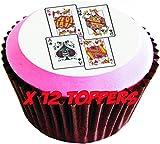 Carte da gioco (king, Queen, jack, Ace) # Edible cake topper (12di 38mm 3,8cm) # 49
