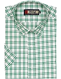 Helg Mens Formal Cotton Checks Half Sleeves Comfort Fit Shirt