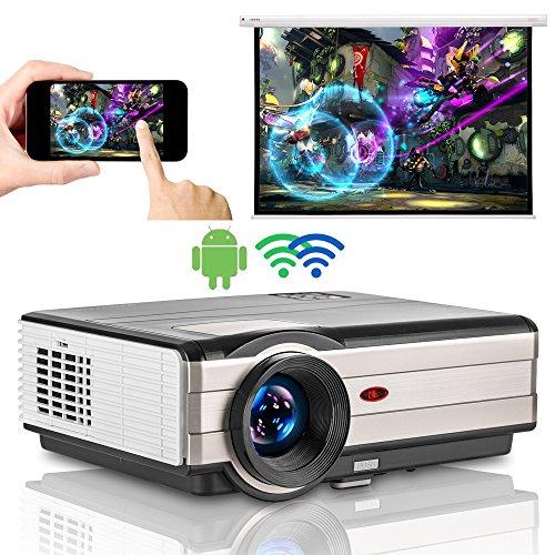 WIKISH Android Beamer 3500 Lumen,WiFi 1080P HD WXGA LCD 50,000st LED Lautsprecher,HDMI 2USB MHL VGA AV TV,Airplay Miracast für Multimedia Heimkino Unterhaltung PC Tablet Smartphone Smart Projektor