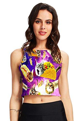 Chicolife Teen Girls Cool ärmelloses Crop Top BH mit 3D Pizza Katzen Eine Sommerkleidung Größe Shirts Gedruckt