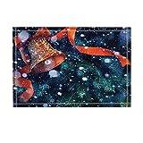 Rrfwq Weihnachtsdekor-rote Klingel-Bänder, die Glocke in den Schnee-Bad-Wolldecken Rutschfeste Fußmatte-Boden-Eingang Inneninnenraum-Haus-Fußmatten-Kinderbadematte 60X40CM Badezimmer-Zusätze winken