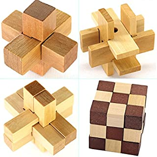 KBstore 4 Pcs Novice Difficulty Wooden Brain Teaser Puzzles Set - Educational Wood Block Interlocking Cube Puzzles - Ideal Logical Toys and Gifts for Kids and Adults