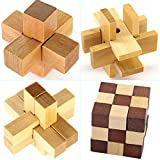 Gracelaza 4 Pezzi Rompicapo Puzzle Giocattoli di Legno - 3D Puzzle di Legno - Gioco di puzzle di legno - Giocattolo e Regali Ideali per Bambini e Ragazzi