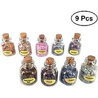 Healifty Kleine Glasfläschchen Mini Wunsch Flaschen mit Korken und Edelstein für Kinder Mädchen Liebhaber Geburtstag Geschenk Schmuck Deko DIY 9 STÜCKE